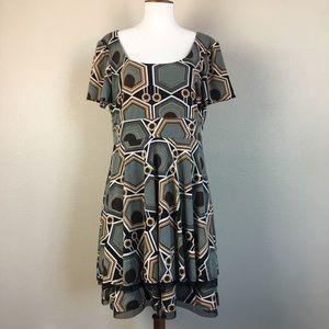 UNCLE FRANK Geometric Olive Green Dress